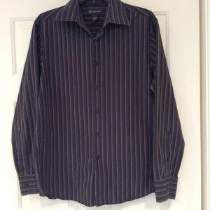 Mens Dress Shirt Black Gray Stripe Med Button Up